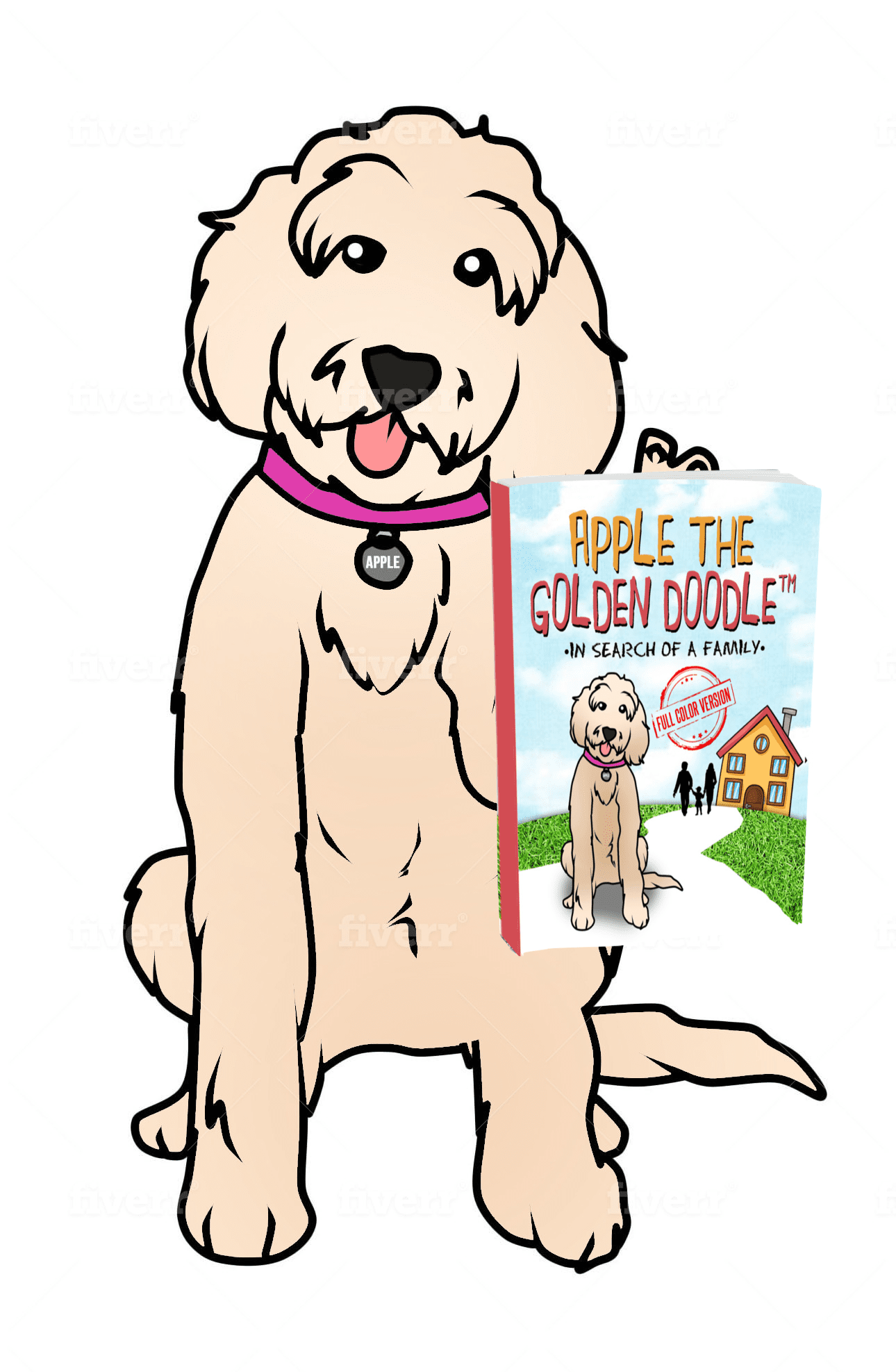picture of apple the goldedodle holding her book