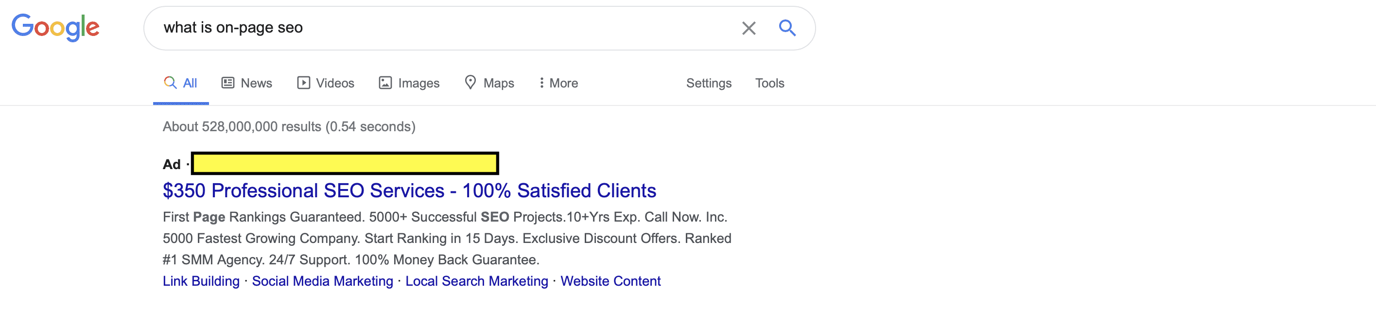 picture of a SEO ad